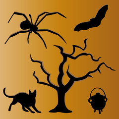 Set of Halloween silhouettes, vector