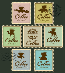 Set of stamps with pictures of animals from different countries, carrying coffee
