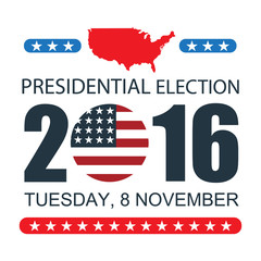 USA presidential election 2016 on white background. Vector illustration poster