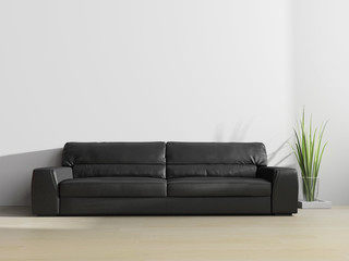 black sofa in modern interior