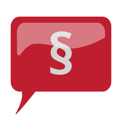 Red speech bubble with white Paragraph icon on white background