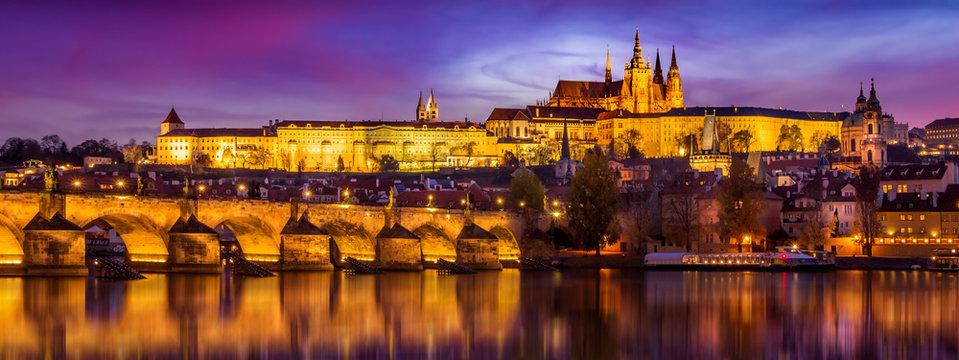Prague in sunset