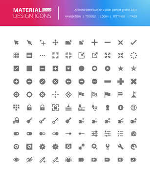 Material design solid icons set. Premium quality pixel perfect UI and UX icons, action icons, for website and app development.