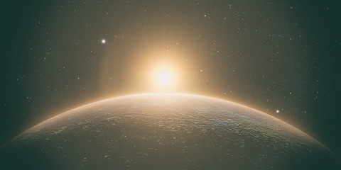 Wall Mural - planet mercury with sunrise on the space background, 3d render.