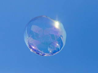 bubble on the blue sky