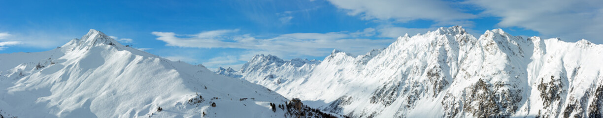 Silvretta Alps winter panorama (Austria).