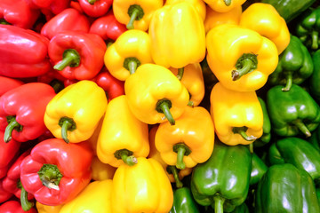 Yellow, red and green bell pepper