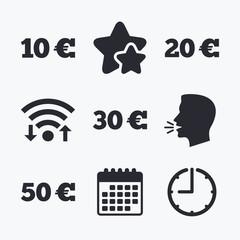 Money in Euro icons. Ten, twenty, fifty EUR.