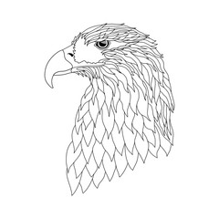 Vector illustration. The head of an eagle on a white background.Black and white pattern can be used for further drawing and coloring.