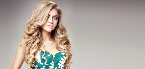 Beauty portrait of natural blonde woman.