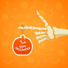 Halloween background with skeleton hand and pumpkin