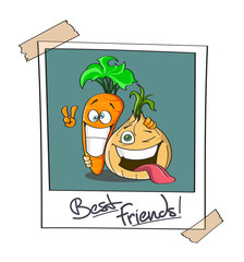 Polaroid photo of two best friends, cartoon Carrot and Onion. Joyfull expressions. Ideal for soup - hand drawn stock vector