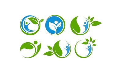 Set Icon Logo Green Life, Ecology, Healthy Life