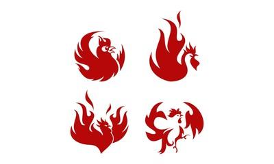 Fire Rooster Logo Set.