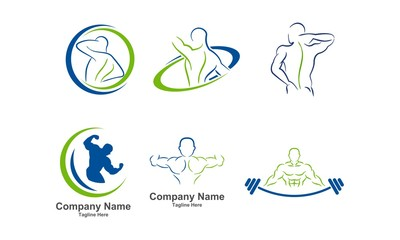 Physcal Fitness Set, Chiropractic Logo Icon