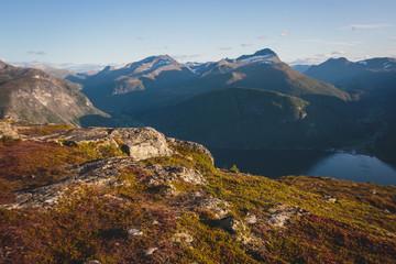 Hiking in Norway, classic norwegian scandinavian summer mountain norwegian landscape