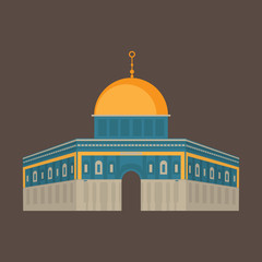 Al-Aqsa Mosque in Jerusalem, Israel. Dome of the rock. Religios architecture.