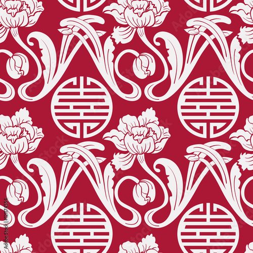 Seamless Pattern Of Chinese Symbols And Flowers Red And White