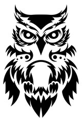 Beautiful owl tattoo. Vector owl's as a design element on isolated background