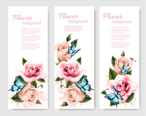 Fototapete - Three greeting cards with colorful flowers and butterflies. Vect