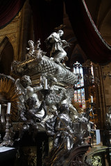 Baroque silver tomb of St John of Nepomuk