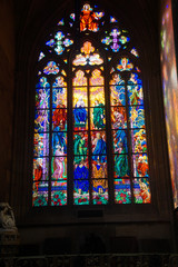 Stained glass window in  St Vitus Cathedral