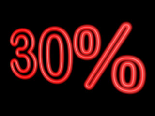 Neon 30 percent isolated on black, 3d illustration