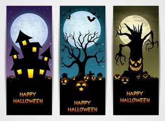 Three Halloween banners with castle and pumpkin and spooky tree