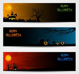 Three Halloween banners with castle and pumpkin