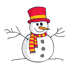 cartoon snowman isolated on white background