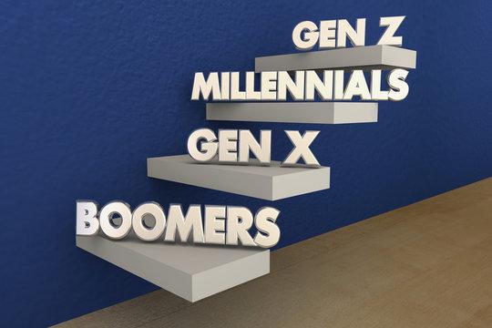 Baby Boomers Millennials Generation X Y Z 3d Illustration
