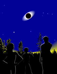 illustration of people watching a total eclipse of the sun