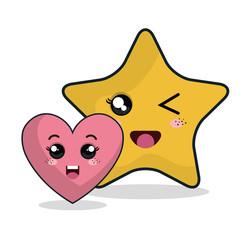 cartoon heart star technology digital design vector illustration eps 10