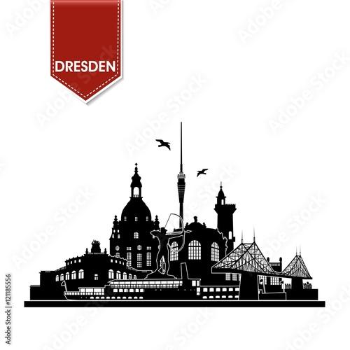 dresden deutschland skyline silhouette wandtattoo umriss semperoper zwinger frauenkirche. Black Bedroom Furniture Sets. Home Design Ideas