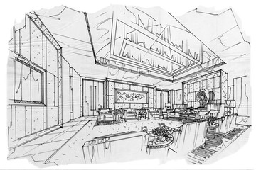 sketch interior perspective VIP meeting room, black and white interior design.