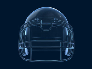 3D rendering of x ray shaded with wireframe football helmet.