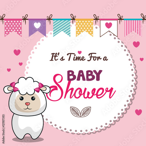 Invitation baby shower card pink with sheep desing vector invitation baby shower card pink with sheep desing vector illustration eps 10 stopboris Images