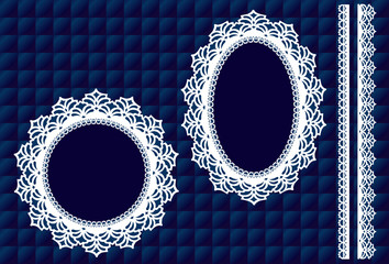 Lace Doily Picture Frames, vintage lace ribbon trim, blue satin quilt background, copy space for DIY holiday albums. EPS8 includes quilt pattern swatch that will seamlessly fill any shape.
