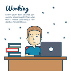 cartoon man working laptop workplace vector illustration eps 10