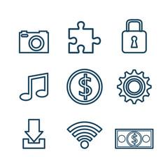 set icons digital design vector illustration eps 10
