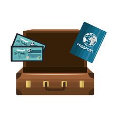 cartoon suitcase passport tickets design isolated vector illustration eps 10