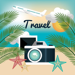 camera photography travel beach vacation design vector illustration eps 10