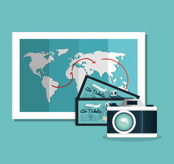 camera photography ticket travel vacation design vector illustration eps 10