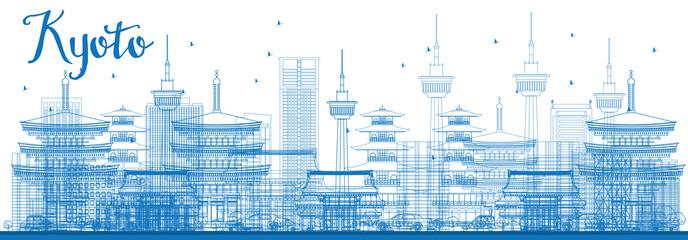 Outline Kyoto Skyline with Blue Landmarks.