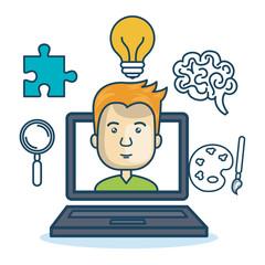 laptop man education online concept vector illustration eps 10