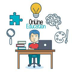 education online man desk laptop vector illustration eps 10