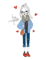 Free Spirit Fashion Illustration with a Fashion Girl Wearing Stylish Clothes. Colorful Free Spirit Typography with Hearts