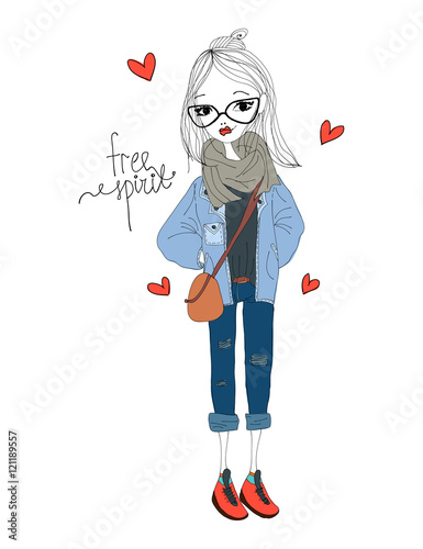 Fashion Illustration with a Fashion Girl Wearing Stylish Clothes