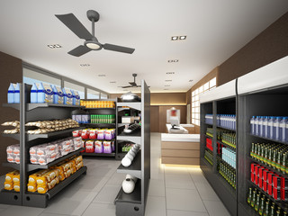 ,3d  rendering of supermarket