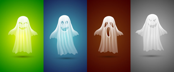 white ghosts for Halloween on different background